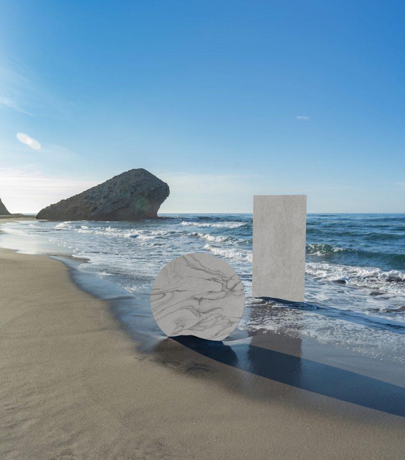 """Dekton® Liquid Sky und Liquid Shell: Die ultrakompakte Oberfläche für die Welt der Architektur und des Designs ist """"von der Wiege bis zur Bahre"""" zu 100% klimaneutral."""