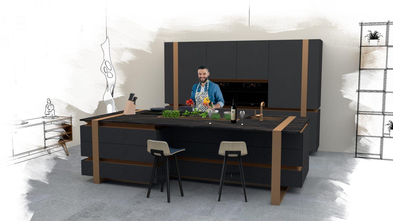 """Mit dem Küchen-Entwurf """"The Golden Hour"""" gewann Robin Kavalirek bei der 15. Cosentino Design Challenge (CDC15) in der Kategorie Architektur. Quelle: Robin Kavalirek"""